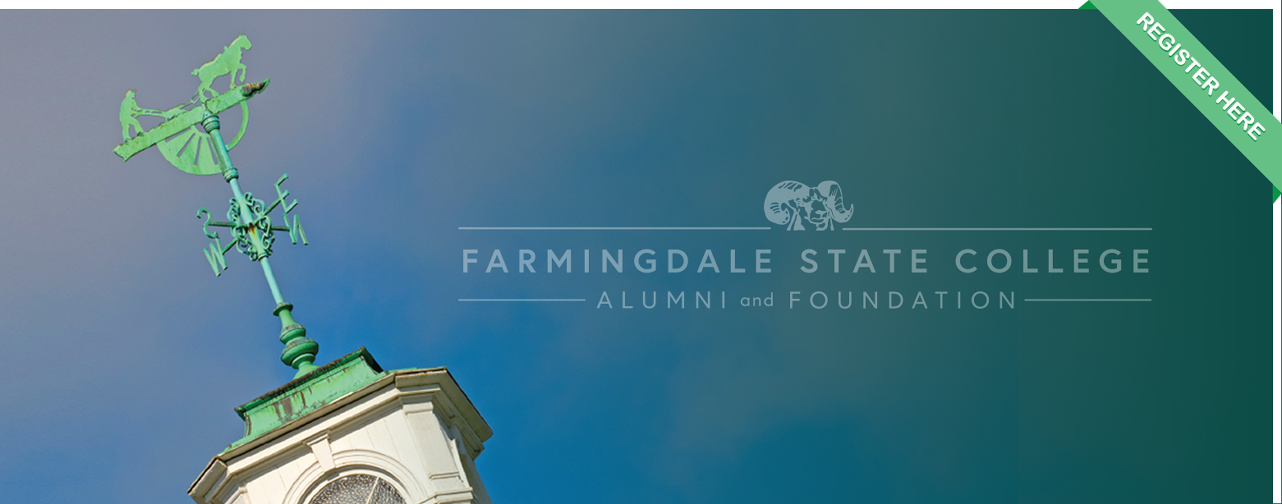 building with weathervane and farmingdale state college alumni association