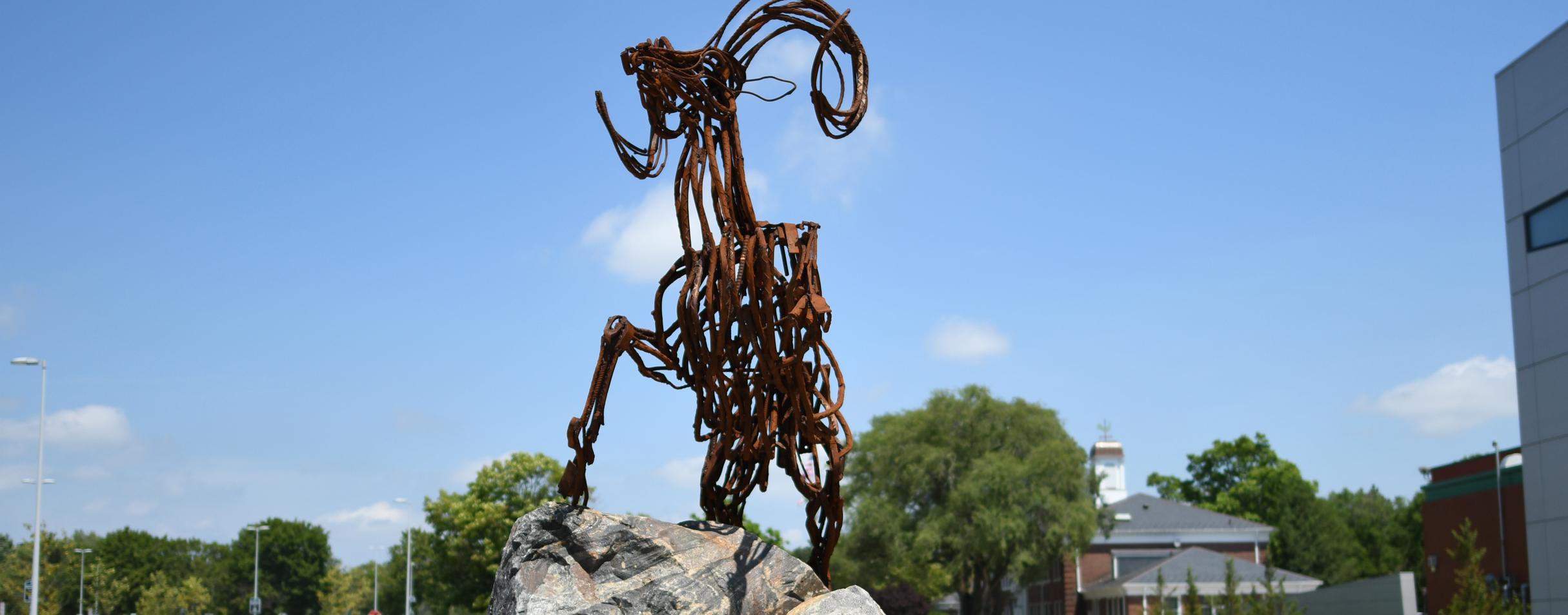Image of metal sculpture of ram